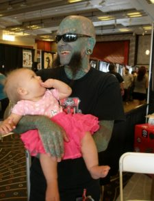 """That kind of thing"" ... yeah, that's my baby daughter with the Lizard Man.  Guess what?  She still has not joined a gang."